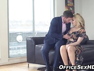 Curvaceous towheaded in pantyhose nails her boy after work