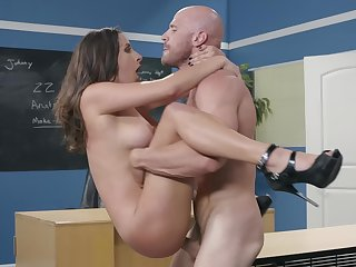 Tittied Ashley Adams chokes unaffected by bald guy's boner in the classroom