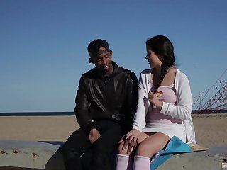 Crude with pigtails Cassie Fire rides a black guy and edibles cum