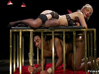 Blond Hair Girl bit of all right canes black male slave