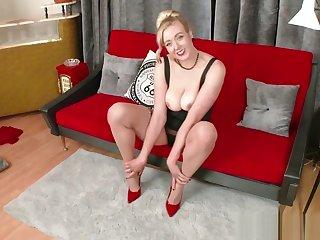 Blonde big natural tits fingers fucks in RHT nylons garters