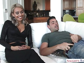 Lean palmy model, Janice Griffith is obtaining porked on get under one's couch, in a bet on a support end- fashion posture