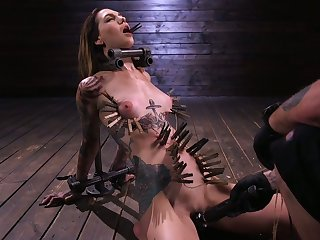 Sextarctive tattooed hooker Rocky Emerson is tied up and toyed by one kinky fault