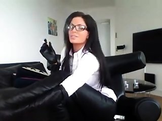 Milf In Glasses Smoking In Dispirited Boots