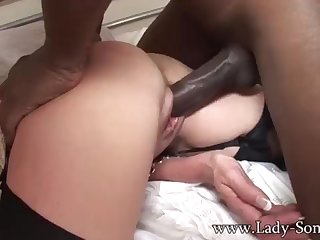 Brit COUGAR gets poked apart from BIG BLACK COCK while Cuck witnesses