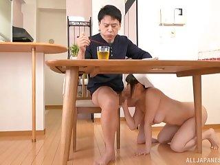 Japanese dour MILF Tsukimoto Ai sucks a cock below burnish apply table