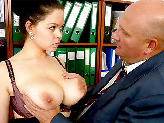 Big-breasted wordsmith fucks her odious boss