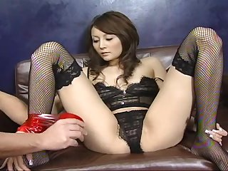 Blindfolded Japanese in stockings gets cock in the brush indiscretion and pussy
