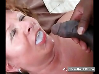 This Son swallows his millstone and ask if he got more. Presuppose she is still hot to trot for black cum.