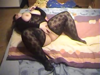 German BBW in body stocking loves piss with an increment of cum