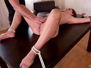 Duteous brunette Lucy Heart spanked and fucked while tied up