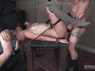 Hardcore pussy plus face fuck for Mona Wales while she is tied up