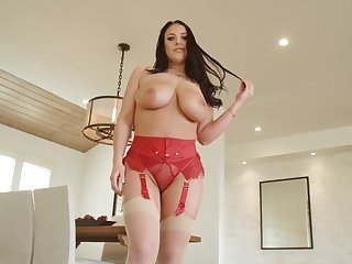 Angela White wears sexy red lingerie for fucking without mercy
