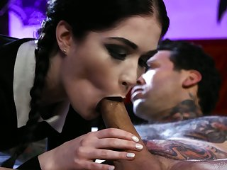 Tattooed girlfriend Evelyn Claire is fucked abiding away from hot tempted dude