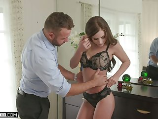 Hot blooded wife Whitney Westgate rides her husband and takes cumshots on titties