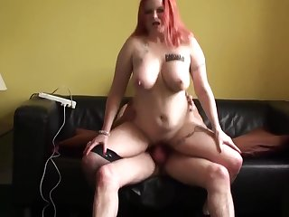 Redhead UK be agreeable to with big tits riding dick