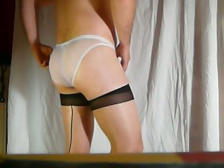 Masturbation in sexy nylon stockings and white sheer panties