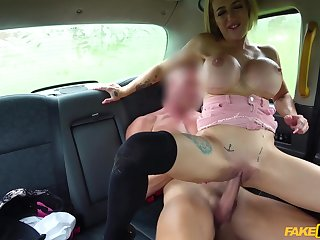 Dissolute babe with big fake tits Skyler Mckay exciting car sexual congress