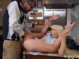 Excellent hard sex with step daddy on the kitchen table