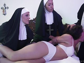 Horny Victoria Voxxx needs two nuns and a officiant to exorcise the ogre get off on her cunt