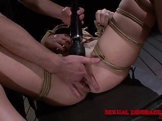 Extreme bondage leads the skirt to a awe-inspiring orgasm