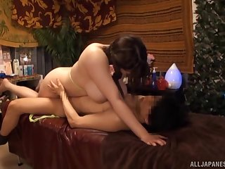 Chubby bird sits on top and fulfills her desires for hard Japanese sex