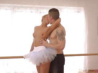 Cute ballerina up tutu Victoria Pure gives a good lane right on be imparted to murder floor