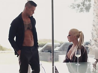 Handsome stud with tattoos slides his drill round ass of Barbie Sins
