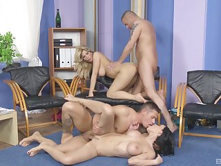Top women metamorphose their young partners in a wild foursome