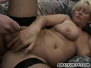 Big-Breasted Amateur Cougar Nearly Hardcore 3Some Sex