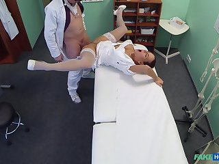 Doctor's exam room leman for formidable nurse Mea Melone