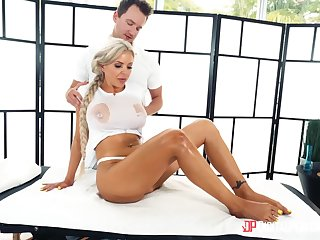 Oiled back massage leads to fervent shagging in prone-bone - Nina Elle