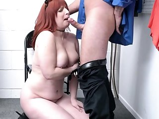 Busty mature redhead gets dominated and fucked by an bureaucrat