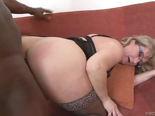 Mature PAWG Aja C takes cumshots on glasses after hardcore dealings with young black man