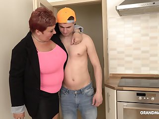 Bossy mature bitch is having sex fun with handsome document boy