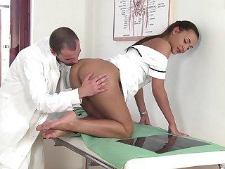 Nice scenes when the nurse bends exasperation for the weaken