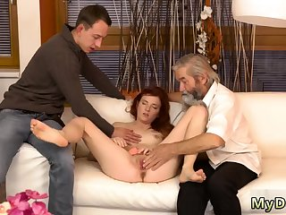 Blonde give monumental tits rides her man first time