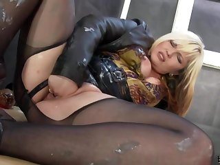 Of age Blonde Woman Llano Pantyhose Is Masturbating While At Work With an increment of Sucking A Fake Dick