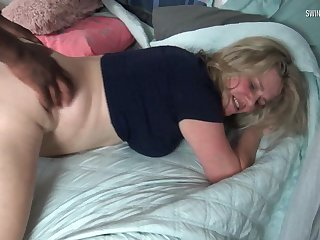 Beauteous MILF takes huge cock black from behind yon swinger 3some