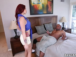 Irresistible redhead Monique Alexander drops on her knees with gust a rod