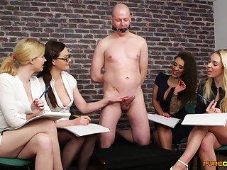Bald man gets his dick pleasured by Tasha Holz and Tina Kay