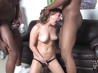 Black gay blade fucks wet cunt of Aurora Snow and gives her a facial