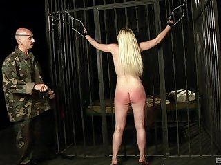 Blonde slave unshaded Angel Brio gets spanked and gives a blowjob