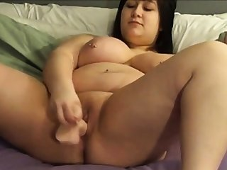 BBW shoves a dildo in yourself on cam 2