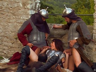 Theodora Ferreri gets her cunt penetrated by three dudes outdoors
