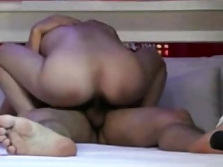 Hairy asian wife rides rock feel attracted to a pro